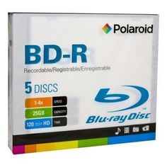 Polaroid PRBRAYR005J BD-R 25GB 120-Minute 4x Recordable Blu-Ray Disc, 5-Pack Slim Case by Polaroid. $14.10. The Polaroid PRBRAYR005J BD-R 25GB 120-Minute 4x Recordable Blu-Ray Disc offers a recording storage capability of up to 2 hours (per disc) with compatible playback on Blu-Ray players and Blu-Ray computer software. The Polaroid BD-R has a max recording speed of 4x and can fit up to 25GB of data. With blue-violet laser technology, Blu-Ray discs have the ability to s...
