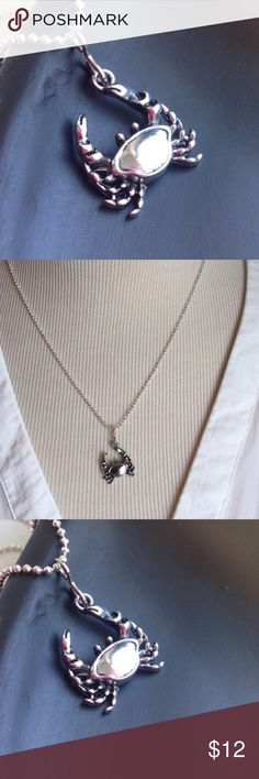 """Dainty Crab Pendant Necklace Antique Silver New Dainty Crab Pendant Necklace Antique Silver New """"18 Stainless Steel Posherpooch Jewelry Necklaces"""