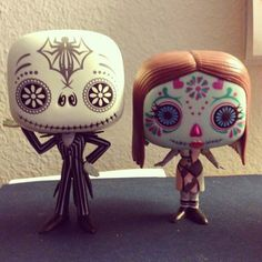 Jack Skallington & Shelley shock in Day of the dead style. Nightmare before Christmas