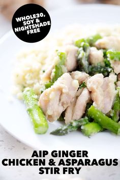 It only takes 7 ingredients and 30 minutes to make this delicious AIP Ginger Chicken and Asparagus Stir Fry. Serve with some cauliflower rice and you've got a meal! Paleo Chicken Recipes, Paleo Recipes, Real Food Recipes, Cooking Recipes, Pork Recipes, Dessert Recipes, Asparagus Stir Fry, Chicken Asparagus, Paleo Meal Plan