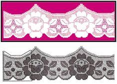 Mais alguns esquemas de barrados de crochê com rosas.