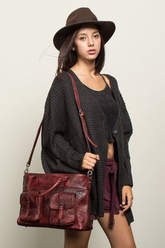 Brown - Genuine Leather Satchel