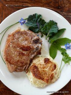 Kohlrabi-Gratin mit Kalbskotlett -- find this recipe and the best German recipes @ www.Mybestgermanrecipes.com in English
