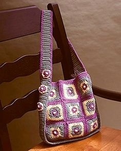 lily sugar and cream tote and bag patterns | Beaded Squares Tote by Dot Drake