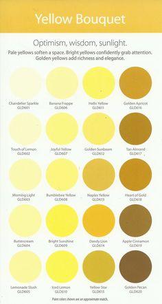 Glidden paint (Walmart) Yellow Bouquet.  Bumblebee Yellow is nice.
