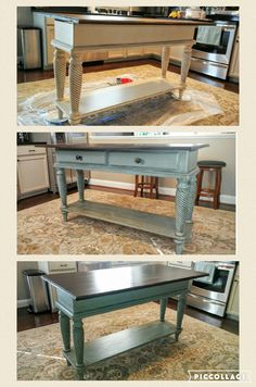 Buffet table turned into kitchen island. Painted with General Finishes Persian Blue and Van Duke Brown glaze. Laundry Room Island, Sofa Tables, New Homes, Home Decor, Farmhouse Paint Colors, Farmhouse Kitchen, Kitchen Layout, Buffet Table, Living Room Designs