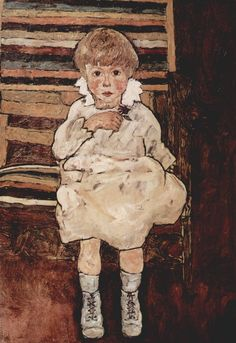 Seated child by @engonschiele #expressionism