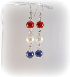 Red White and Blue Earrings Patriotic Jewelry by foreverandrea, $10.00