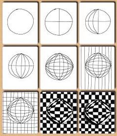 Op art, also known as optical art, is a style of visual art that uses optical illusions. Op art works are abstract, with many better-known pieces created in black and white. Drawing Lessons, Op Art Lessons, Drawing Step, Contour Drawing, Drawing Projects, Doodle Patterns, Zentangle Patterns, Zentangles, Cool Patterns To Draw