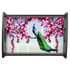 http://www.zazzle.com.au/peacock_cherry_blossoms_and_lattice-256706593471954362?rf=238523064604734277 Peacock Cherry Blossoms And Lattice - This serving tray features a peacock perching on a cherry blossom branch in front of a lattice wall.