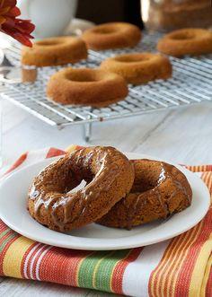 Gluten Free, Grain Free Baked Pumpkin Doughnuts with Cinnamon Glaze