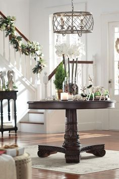 Entryway with Chandelier, Glass panel door, Currey and Company 4 Light Single Tier Chandelier / Flush Mount Ceiling Fixture