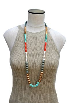 ◄ long boho vibes ► •••••••••••••••••••••••••••••••••••••••••••  You are sure to love this modern beaded statement necklace. With a beautiful color combination of mint green, gold, gray, ivory and orange - this necklace is the perfect accessory to your wardrobe. The unique necklace is designed with 8mm and 12mm wood beads. The non-toxic beads are dyed and waxed. Each bead is extremely lightweight, so the necklace is light and comfortable. It is finished with a gold plated lobster clasp. ►…