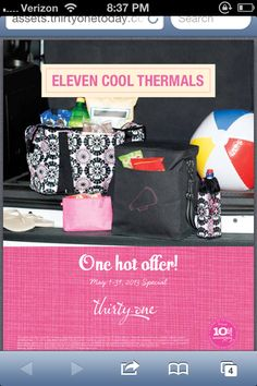 For every 31 u spend, get 50% off any thermal tote! Visit www.mythirtyone.com/325156/ and place ur order under any of ladies! May special!