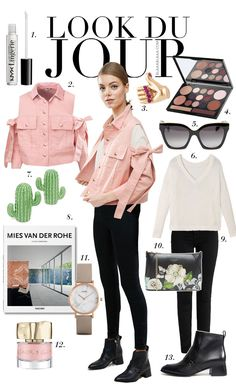 Look Du Jour: Yeppa! Salt N Peppa!. White sweater+black skinny jeans+black ankle boots+pink cold shoulder bows denim jacket+black floral clutch+taupe watch+black sunglasses. Spring Casual Outfit 2017