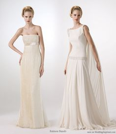 Pleats please - pleated off-white or ivory strapless wedding dress and grecian goddess winged drop waist gown from Raimon Bundo