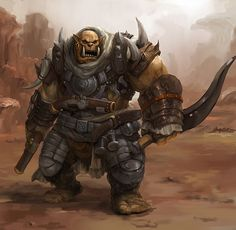 Rhulic-Ogrun Skilled Trencher/Pistolier. Gear: Trencher-Infantry Armour, Dual/Heavy-Pistols; blast/frag-grenades; falchion/khopesh.