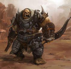 Rhulic-Ogrun Skilled Trencher/Pistolier. Gear: Trencher-Infantry Armour, Dual/Heavy-Pistols; blast/frag-grenades; falchion/khopesh.