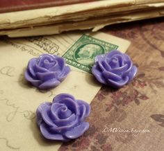 4pcs Matte Lavender  18mm Quality Resin Rose  Nice by CMVision