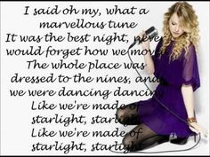 """Starlight"" By Taylor Swift with Lyrics. SO SWEET!!! <3 <3"