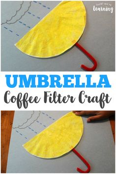 This simple inside out coffee filter umbrella craft is a perfect project to make with the kids on a windy or rainy day!