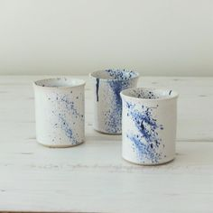 Handmade ceramic beaker in a white glaze with a cobalt blue spray, water or juice beaker, handmade gift, housewarming gift