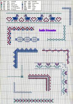 Anaide Ponto Cruz: Beautiful cross stitch graphics of corner barred. Cross Stitch Boarders, Cross Stitch Alphabet, Cross Stitch Charts, Cross Stitch Designs, Cross Stitching, Cross Stitch Embroidery, Cross Stitch Patterns, Pach Aplique, Cross Stitch Harry Potter