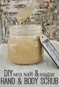 DIY sea salt  sugar Hand  body scrub - Easy to make  a must for the summer months to keep in the shower to remove rough  dry skin. Gives you the most silkiest glowing skin ever!