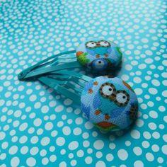 Met stof beklede knopjes haarclipjes - Uiltjes van NiteOwl op DaWanda.com