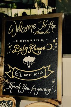 Gold Twinkle Twinkle Little Star Baby Shower - Welcome Sign, Countdown Sign