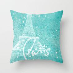 Paris in Aqua Throw Pillow by Veronica Ventress - $20.00