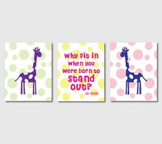 Kid's Wall Art  Giraffes and Polka dots  by SusanNewberryDesigns, $42.50