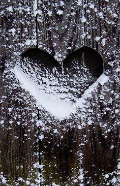 Snow sprinkled heart