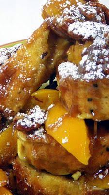 French Toast with Peaches and Pecan Praline Sauce... This is an OMG recipe.  So much better than it's parts, decadent rich pecan praline sauce over authentic FRENCH TOAST (think bread pudding more than the common French toast you may know).  All set for breakfast, but consider this for a SUPER BOWL PARTY (go Chiefs... Crap again, but wait til next year).  The game is set in New Orleans, so a great excuse to cook this New Orleans influenced dessert/breakfast