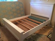DIY farmhouse bed. white bed frame. white farmhouse bed. how to make a bed. Ana white bed plans. Popular with the Poplins