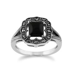 Show details for 925 Sterling Silver 0.58ct Black Onyx & Marcasite Art Deco Ring