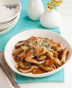 Pennes au poulet et aux champignons #recette