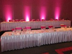 Brianne and Paul started their reception with uplighting in pink in the East Ballroom at the Bayfront Convention Center in Erie, PA
