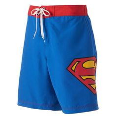 Men's DC Comics Superman Board Shorts ($16) ❤ liked on Polyvore featuring men's fashion, men's clothing, men's swimwear, blue, mens boardshorts, mens board shorts swimwear, mens swimwear, mens mesh swimwear and mens clothing