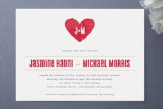 Taking a cue from vintage telegrams, this modern wedding invitation is chic and charming. A juxtaposition of strong type and delicate typewriter styled letter, and subtle pops of color make this invitation the perfect complement to an array of themes and color palettes.