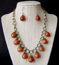 GEMSTONE QUARTZITE NECKLACE AND EARRINGS-GIFT   BeautyandtheGems - Jewelry on ArtFire