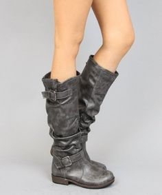 Bamboo Montage-02N Crinkle Leatherette Faux Fur Strappy Mid Calf Round Toe Motorcycle Boots:Amazon:Shoes