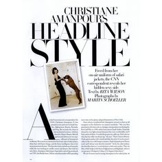 Harper's Bazaar Editorial Christane Amanpour's Headline Style, August... ❤ liked on Polyvore