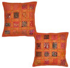 2 Pcs Indian Vintage Home Decor Cotton Cushion Cover With Embroidery & Patchwork, 41 X 41 Cm (Orange) (Orange)