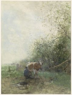 Melktijd, Willem Maris, 1844 - 1910