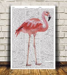 Nice modern Dictionary print. Lovely Flamingo poster. Beautiful Bird print for your home and office. Cute Animal art. SIZES: A4 (8.3 x 11) and A3