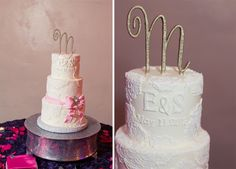 Gorgeous wedding cake with gold topper. Blue Hills Photo | Pretty My Party #wedding #cake #topper