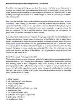 Pastor Appreciation Letter Template  Pastors Appreciation Day