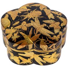 Edo Kobako Black and Gold Japanese Lacquer with Insects and Snails Decor | From a unique collection of antique and modern lacquer at https://www.1stdibs.com/furniture/asian-art-furniture/lacquer/