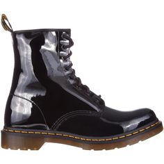 Dr Martens Classic 1460 8-Eye ($41) ❤ liked on Polyvore featuring shoes, black patent, boots, women, synthetic shoes, dr martens footwear, kohl shoes, dr. martens and black shoes